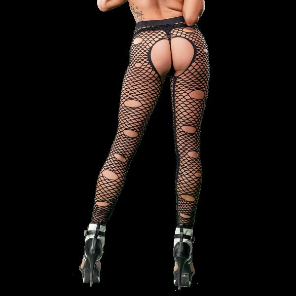Naughty Girl Sexy Mixed Holes Leggings Black O/S