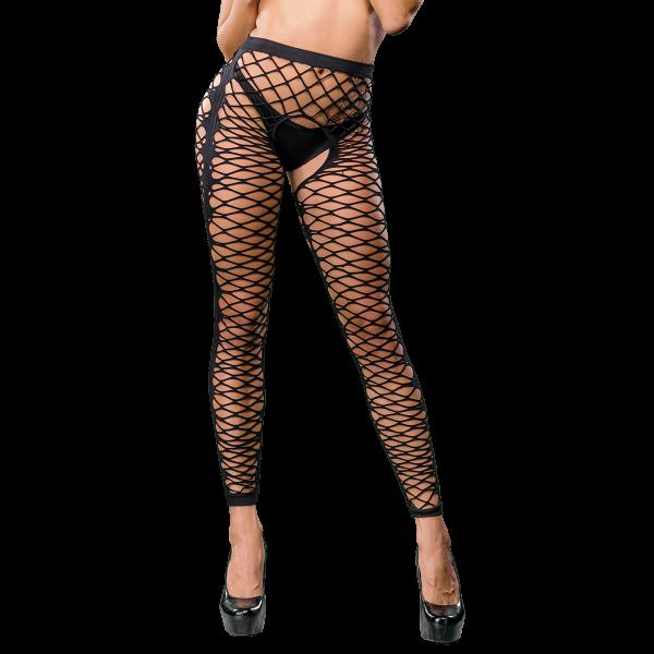 Naughty Girl Sexy Mesh Front, Side Design Leggings Black O/S