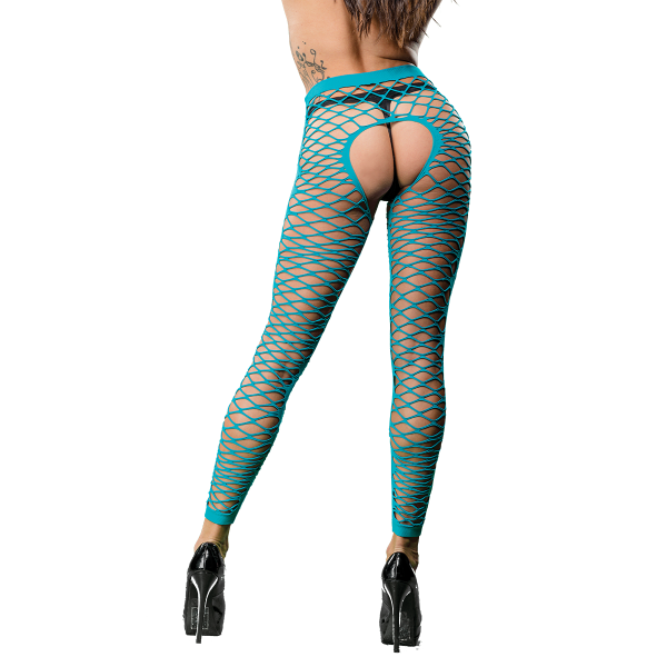 Naughty Girl Sexy Leggings Front Side Mesh Blue O/S