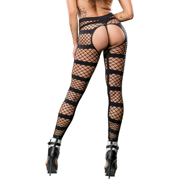 Naughty Girl Horizontal Stripes Sexy Leggings Black O/S