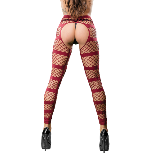 Naughty Girl Sexy Leggings Horizontal Stripes Burgundy O/S