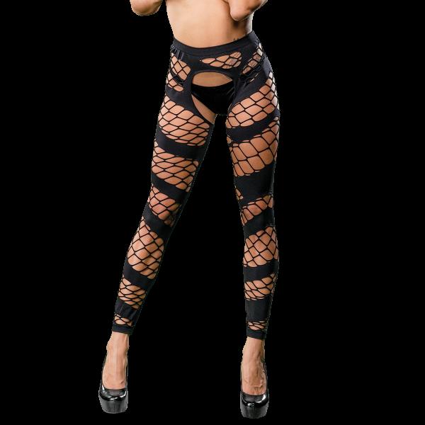 Naughty Girl Sexy Leggings Wild Mesh Design Black O/S