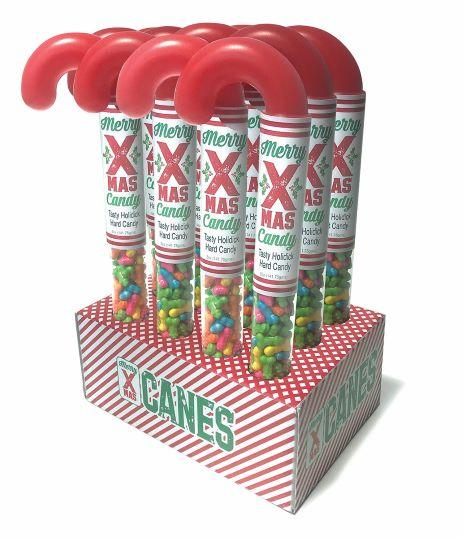 Merry X-Mas Candy Canes Holidick Display of 12