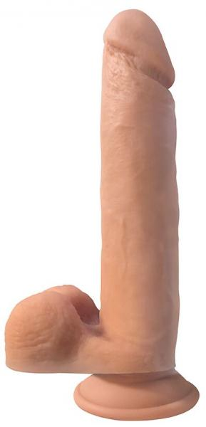 Big Shot 10 inches Vibrating Silicone Dong with Balls Beige
