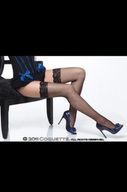 Fishnet Thigh High W/ Lace Top Black Os/Xl
