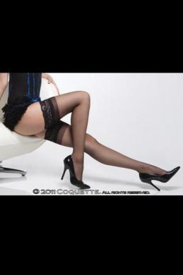 Sheer Thigh High W/ Silicone Grip Lace Top Blk Os