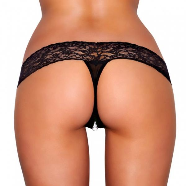 Crotchless Panties Pearl Beads Black S/M