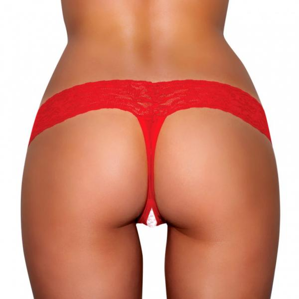 Crotchless Panties Pearl Beads Red M/L
