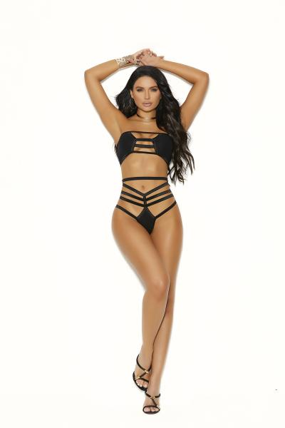 2 Piece Strappy Opaque Bra & Panty Set Black O/S