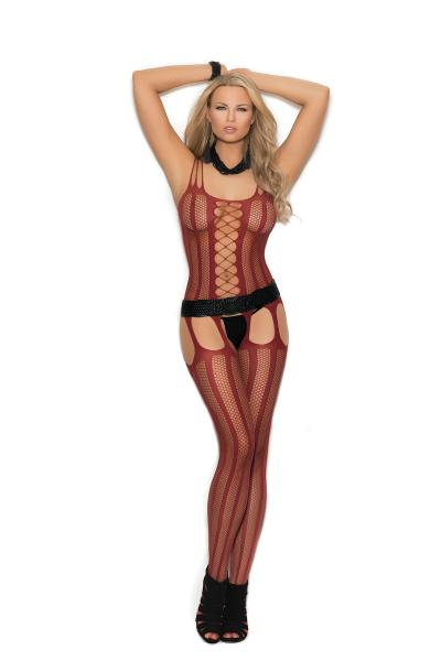 Vertical Striped Bodystocking Red O/S