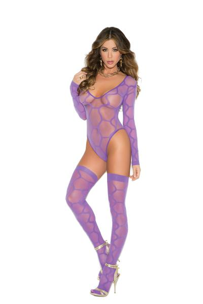 Long Sleeve Teddy With Thigh High Stockings Purple O/S
