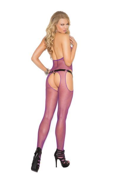 Fishnet Suspender Bodystocking O/S Purple