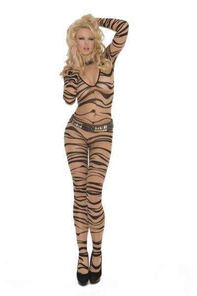 Zebra Print Long Sleeve Body Stocking O/S