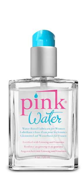 Pink Water Lubricant 4 ounces Glass Bottle with Pump