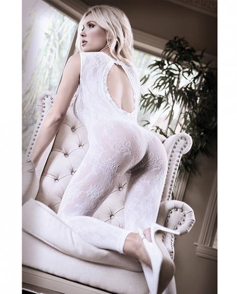 Sheer Fantasy Lace Edge Floral Bodystocking White O/S
