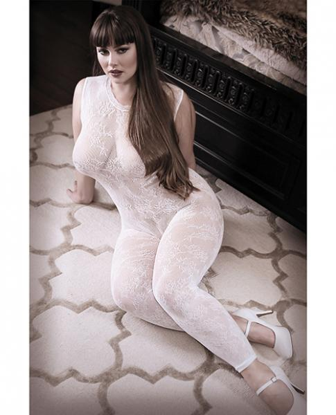 Sheer Fantasy Lace Edge Bodystocking White Queen Size