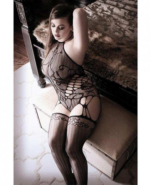 Goodnight Kiss Halter Teddy Attached Stockings Black Qn