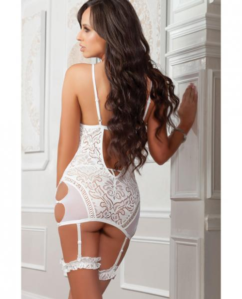 Garter Lacy Slip with Side Cutouts Pearl White O/S