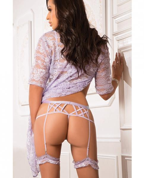 Open Strappy Wired Demi Bra & Garter Panty Violet Diva O/S