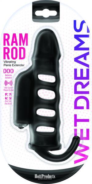 Ram Rod Penis Sleeve With Power Bullet Black