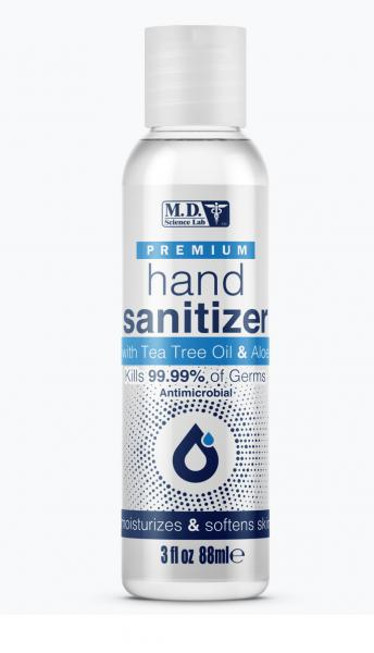 Md Science Lab Premium Hand Sanitizer W/ Tea Tree Oil & Aloe 3 Fl Oz