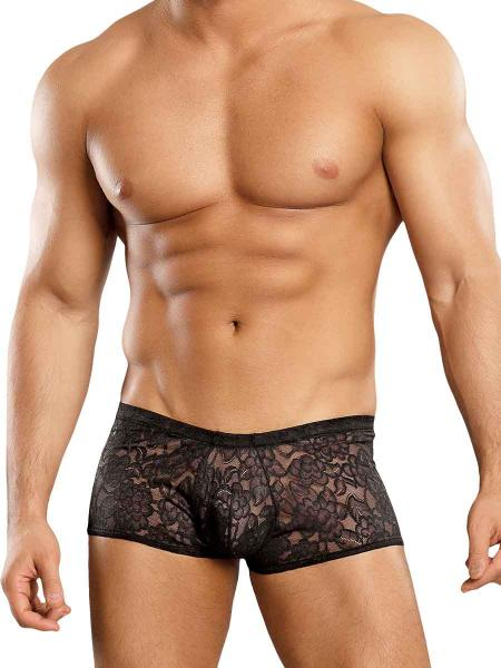 Male Power Mini Shorts Stretch Lace Black Small