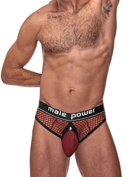 Cock Pit Cock Ring Thong Burgundy S/m