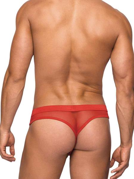 Male Power Hose Mesh Thong Red L/XL