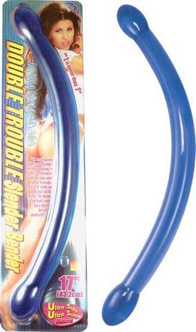 Double Trouble Slender Bender Blue Dildo