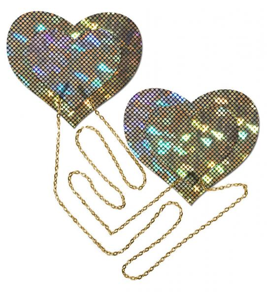 Gold Shattered Disco Ball Heart With Gold Chains Pasties