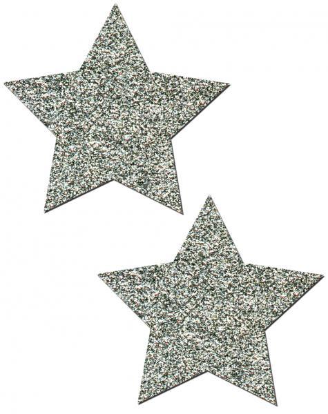 Rockstar Silver Glitter Star Pasties O/S