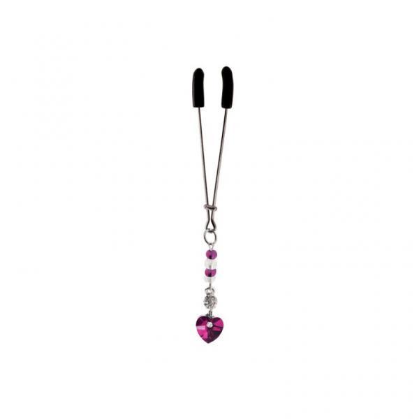 Bijoux De Cli Tweezer W/ Heart Charm & Fuchsia Beads