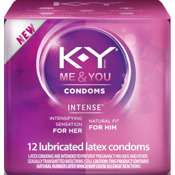 K-Y Me & You Intense Lubricated Latex Condoms 12 Count