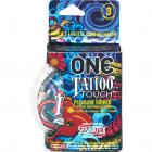 One Tattoo Touch Latex Condoms 3 Pack Sex Toy Product