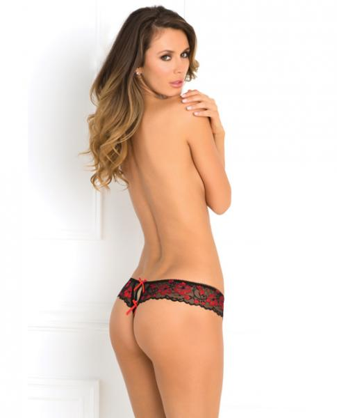 Rene Rofe Crotchless Lace Thong Panty Red S/M