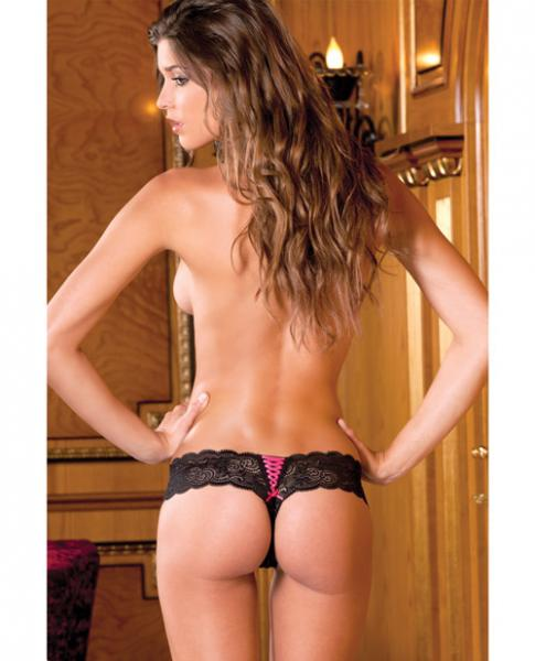 Rene Rofe Crotchless Lace Love Story Thong Black S/M