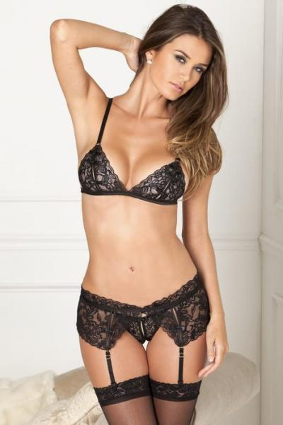 Rene Rofe Lace 3 Piece Garter Set Black M/L