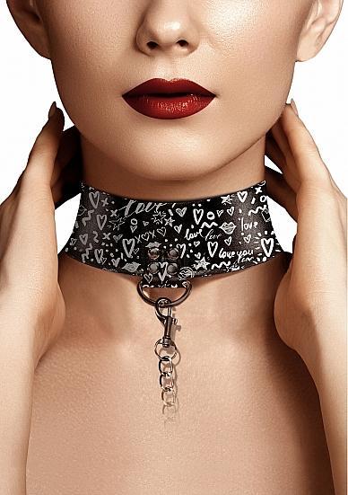 Love Street Art Fashion Collar W/ Leash Black