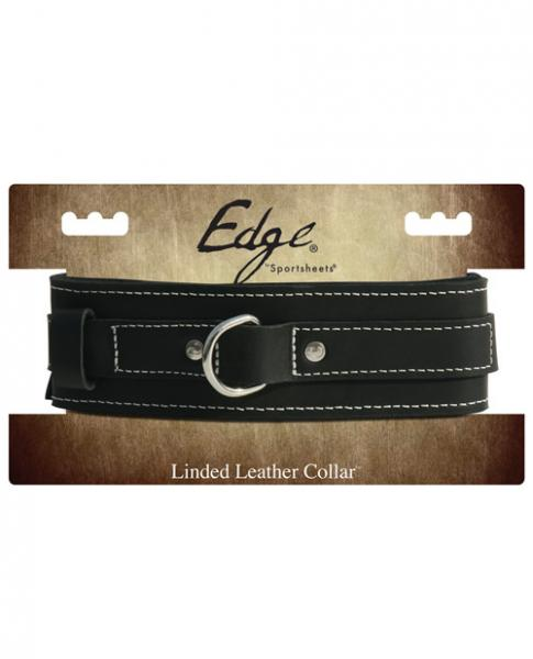Edge Lined Leather Collar Black O/S