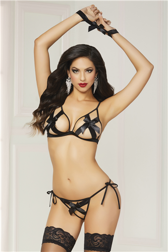Shiny Stretch Satin Bra Set Black O/S
