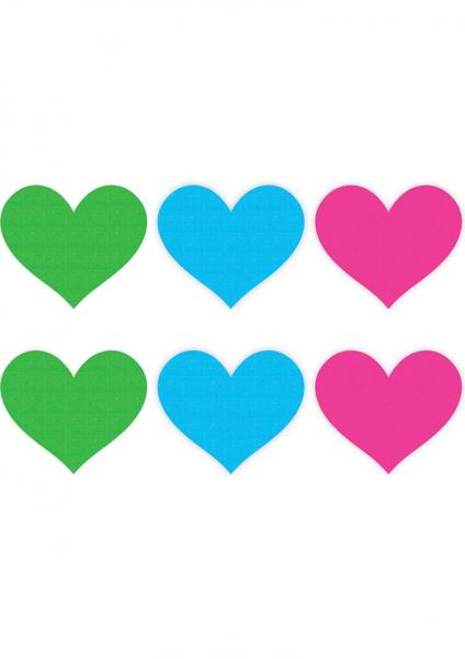 Neon Hearts 3 Pairs Assorted Color Pasties