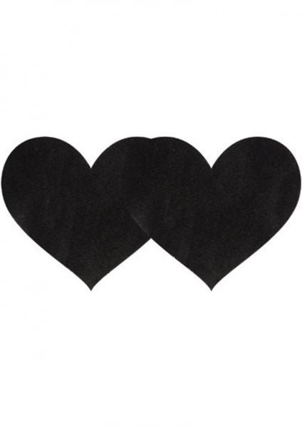 Pasties Black Satin Heart 2 Pack