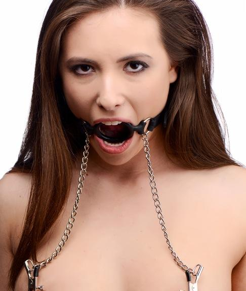 Mutiny Silicone O-Ring Gag With Nipple Clamps Black