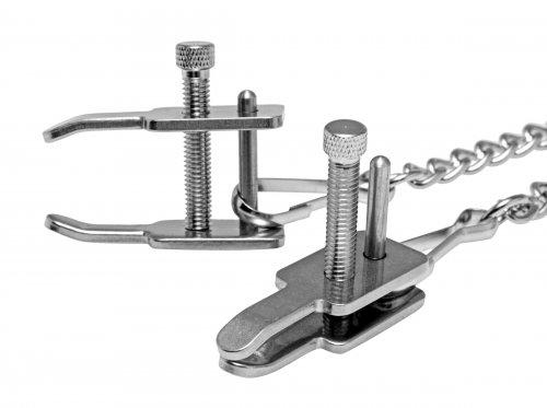 Kneel Nose To Genitals Kneeling Clamps Silver