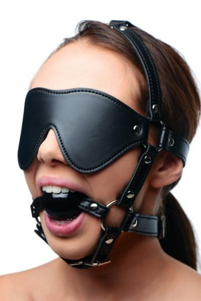 Strict Eye Mask Harness With Ball Gag Black