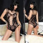 Floral Lace Teddy Net Panel Shredded Strap  O/S Black  Sex Toy Product